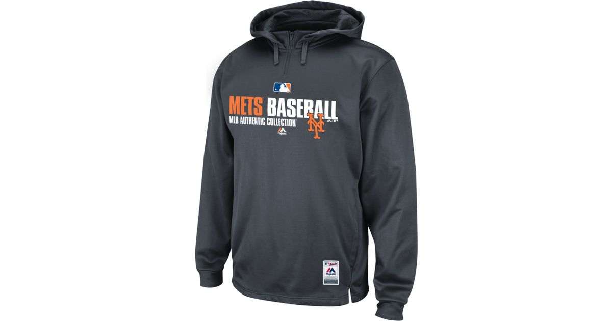 new styles a8194 0323e Majestic Gray Mens New York Mets Team Favorite Therma Base Performance  Hoodie for men