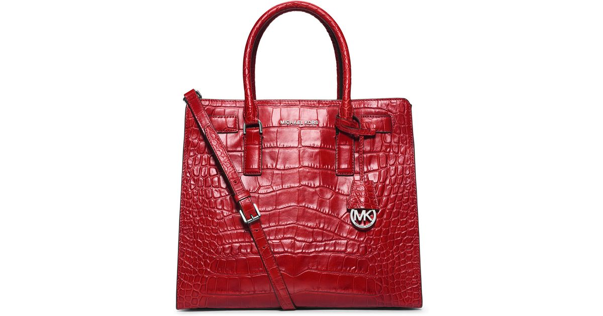 f33a3219ba00 MICHAEL Michael Kors Dillon Large Croc-Embossed Tote Bag in Red - Lyst