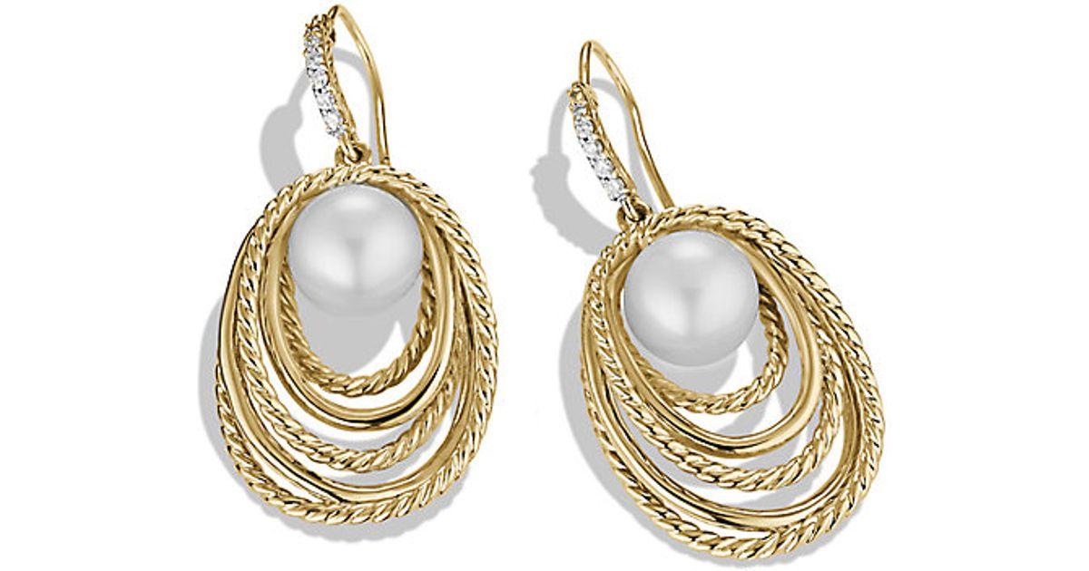 Lyst - David yurman Pearl Crossover Drop Earrings With Diamonds In ...