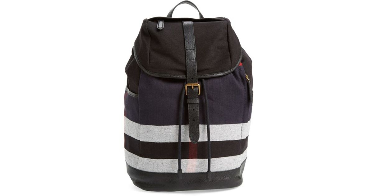 Lyst - Burberry  drifton  Check Canvas Backpack in Black 7dbd0d8fa4