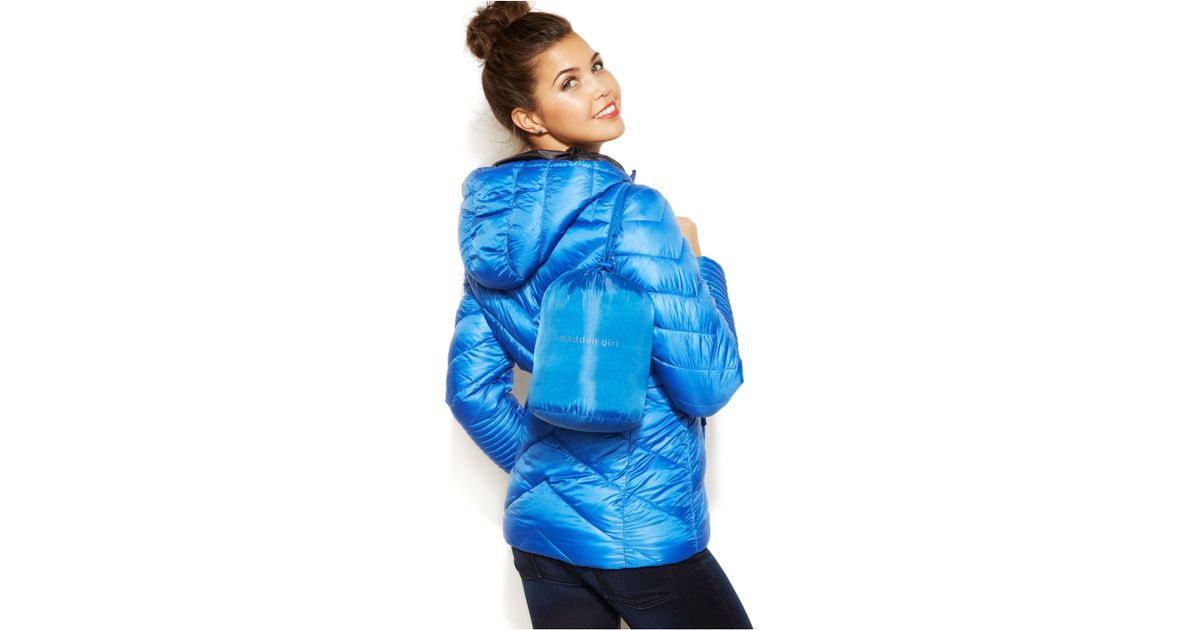 d5deee045 Madden Girl Blue Hooded Quilted Packable Puffer Coat