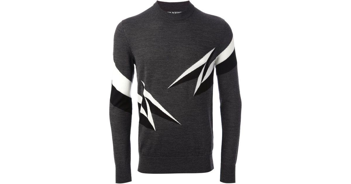5f0361b7e Neil Barrett Lightning Bolt Sweater in Gray for Men - Lyst