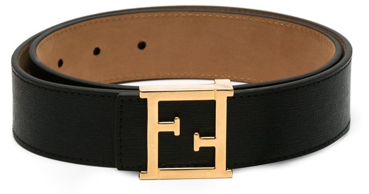 c9f024b2606a7 Fendi Ff Logo Buckle Belt in Black - Lyst
