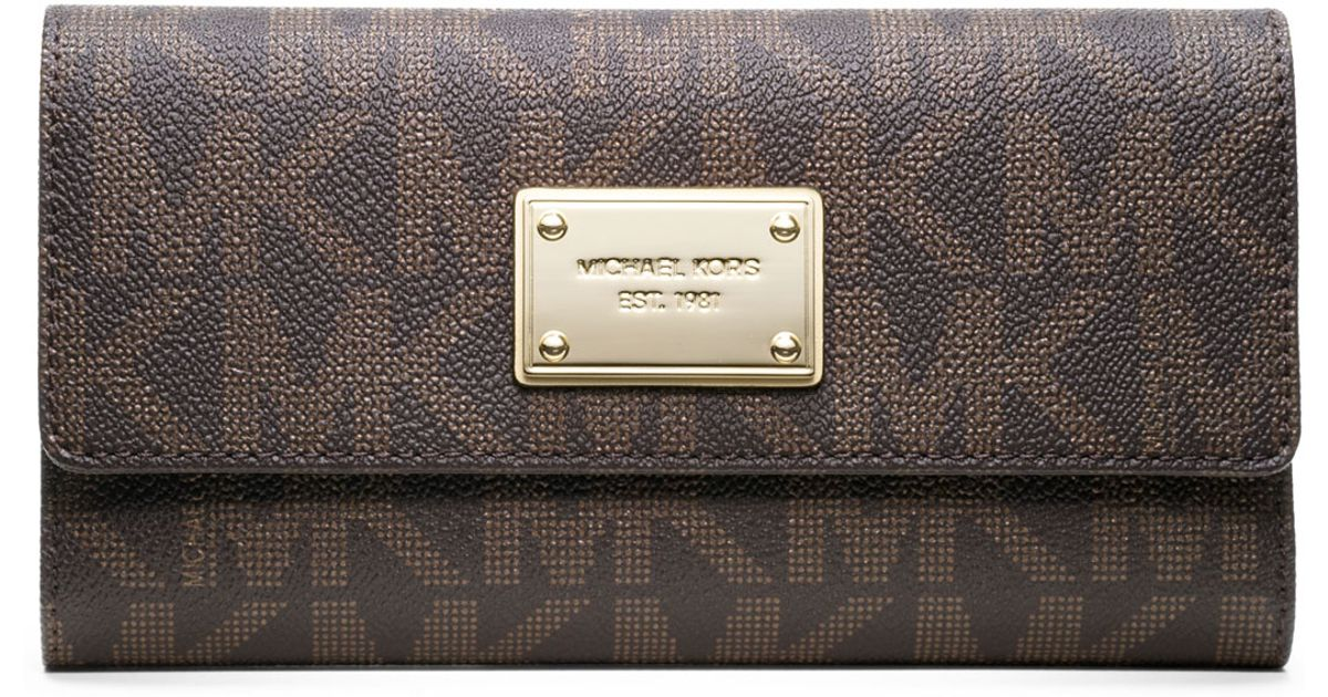 beec124ddd16 MICHAEL Michael Kors Jet Set Logo Checkbook Wallet in Brown - Lyst