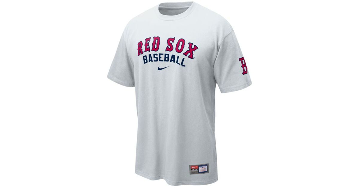 low priced 20ae6 0433d Nike White Mens Boston Red Sox Practice Ii Tshirt for men