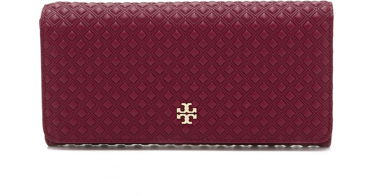 Lyst - Tory Burch Marion Embossed Multi Gusset Wallet in Red