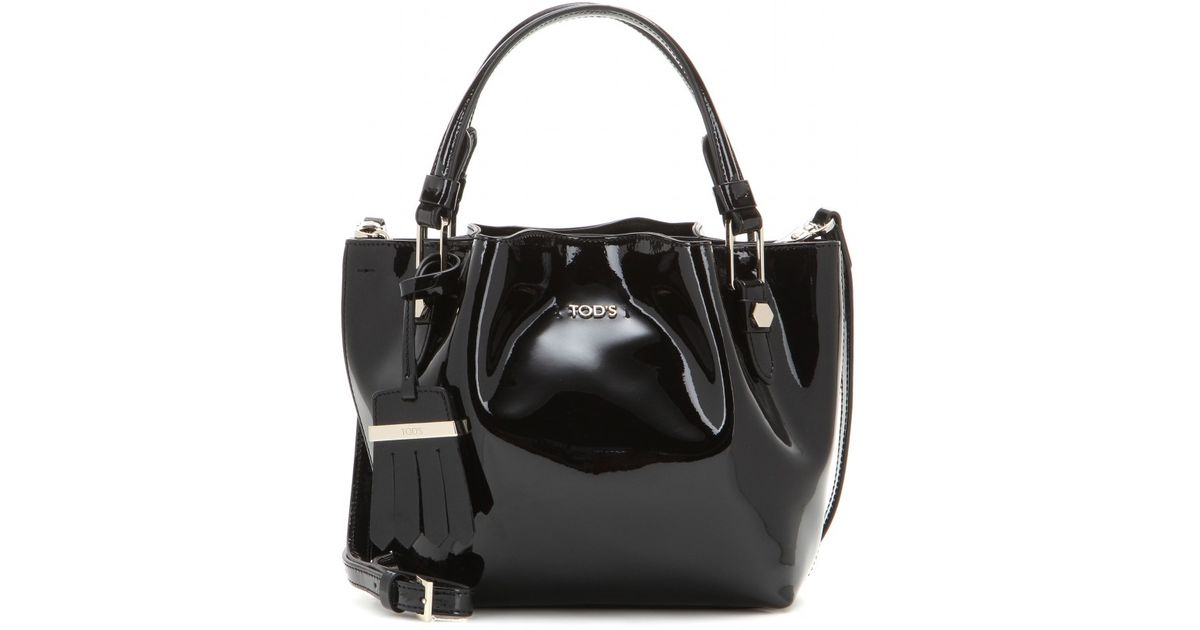 Lyst - Tod s Flower Micro Patent Leather Bag in Black b25e20e99fbd4