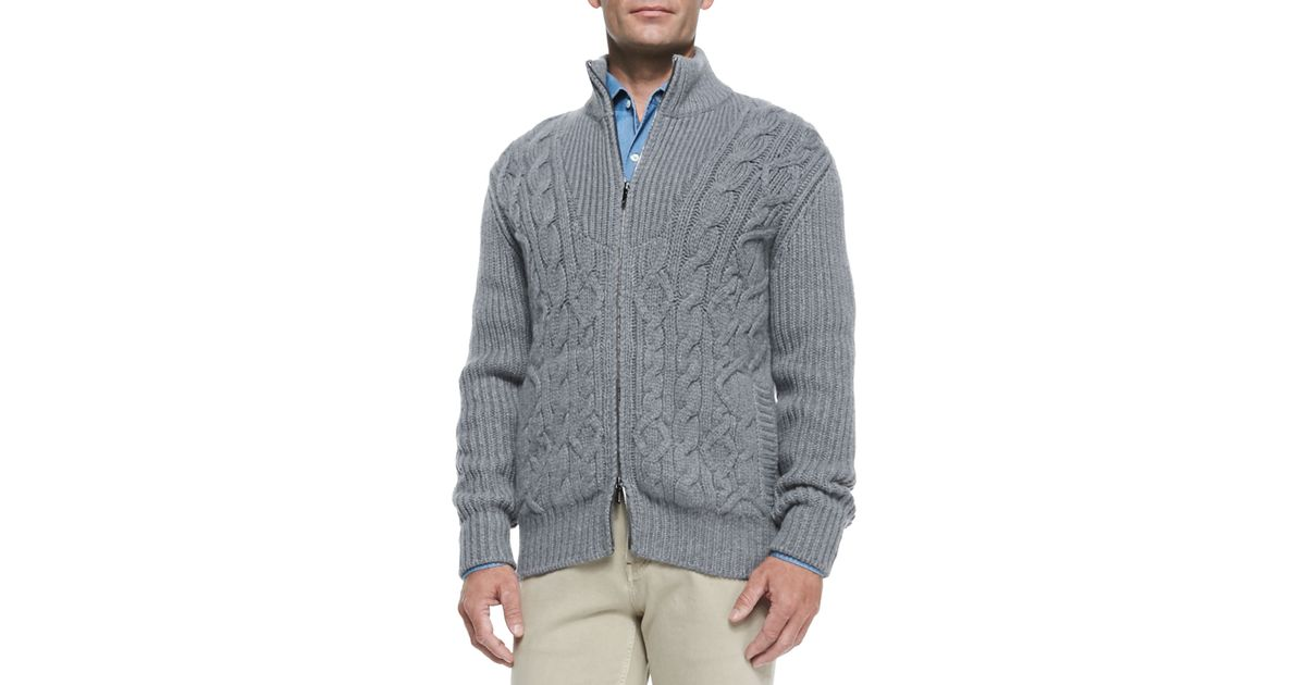 4a0a96f171d7 Loro Piana Baby Cashmere Cable-Knit Zip Cardigan in Gray for Men - Lyst