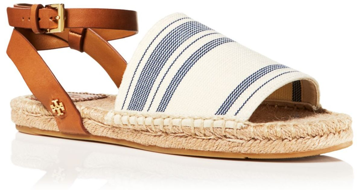 5e7584db286b ... sale lyst tory burch espadrille flat sandals striped ankle strap in  white 424ff 81b12