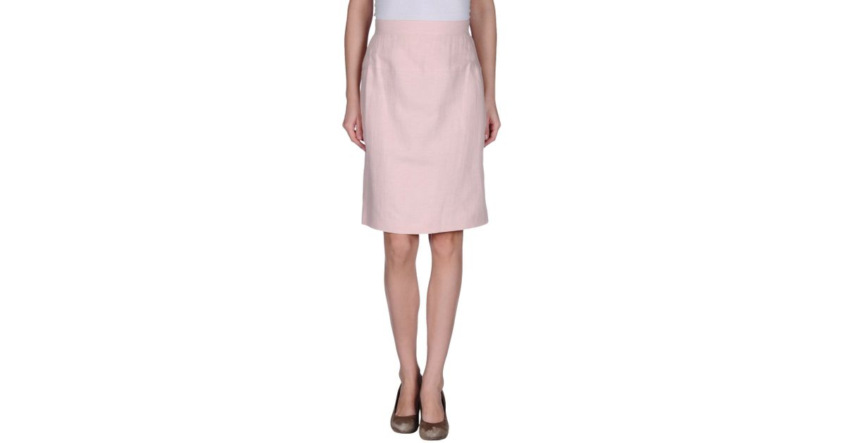 les copains knee length skirt in pink lyst