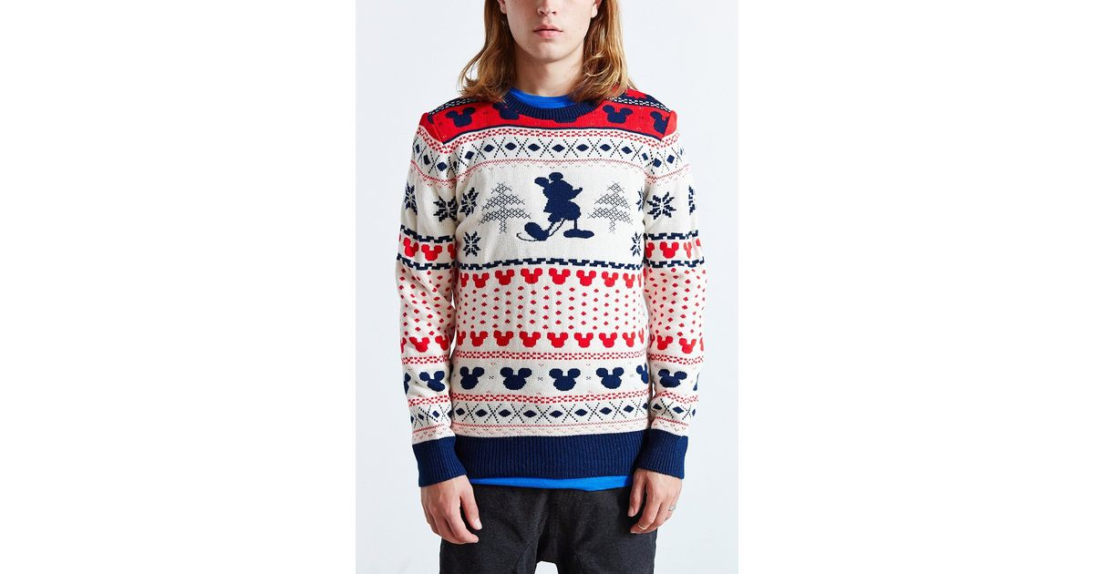 Lyst - Urban outfitters Mickey Mouse Fair Isle Crew Neck Sweater ...