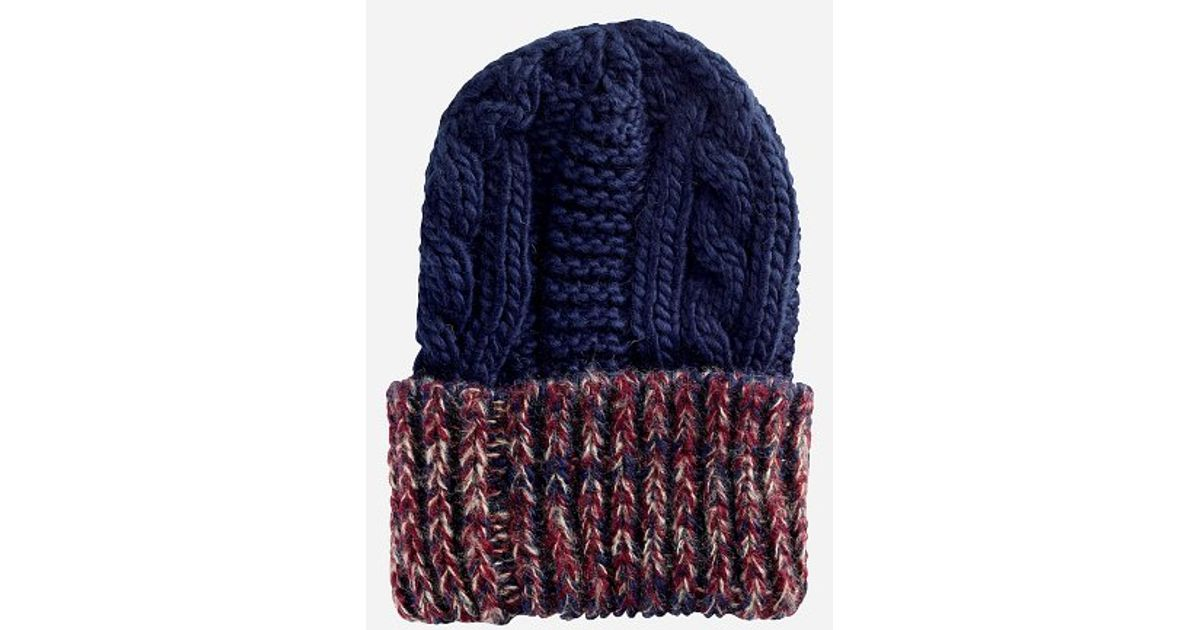 6e3fae094f3 Lyst - San Diego Hat Company Womens Oversized Cable Knit Beanie With Marled  Yarn Cuff in Blue