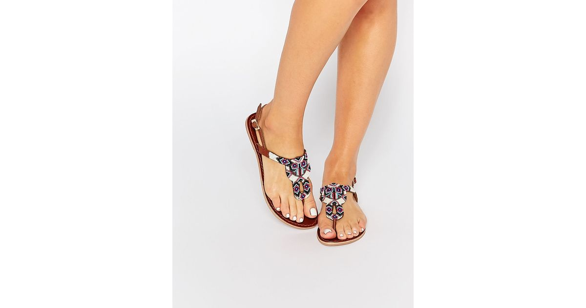 Pieces Carmen Beaded Leather Toe Post Flat Sandals In