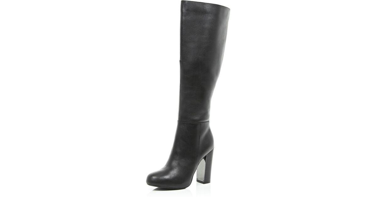 f48da904989 River Island Black Metal Trim Block Heel Knee High Boots