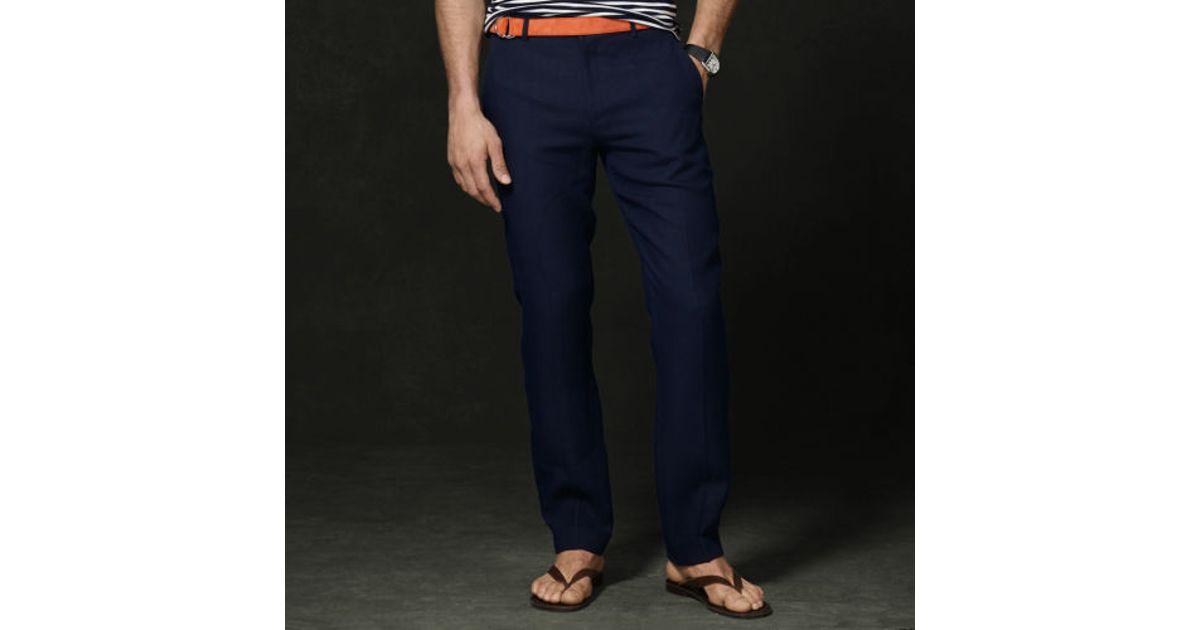 90140ebdf Ralph Lauren Purple Label Linen Harrison Pant in Blue for Men - Lyst