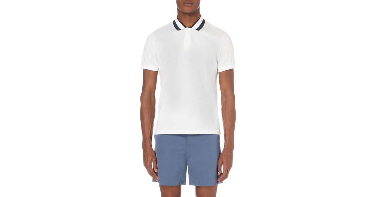 fc9b4413db9 Lyst - Gucci Lurex-tipped Cotton-pique Polo Shirt in White for Men