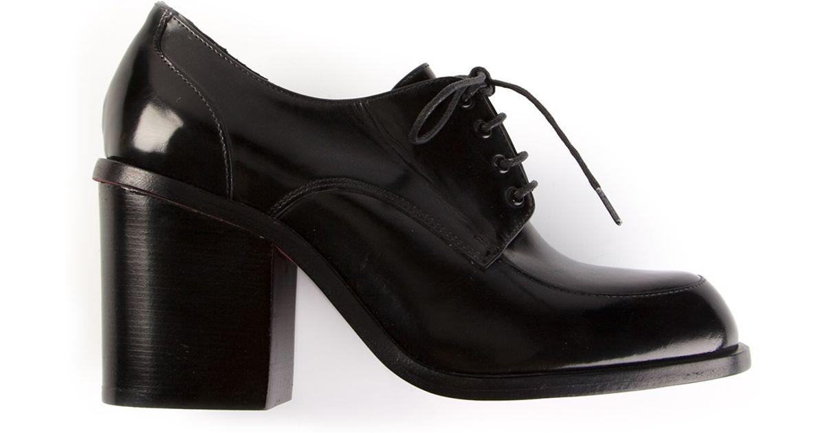 Simona Vanth Mid Heel Oxford Shoe In Black   Lyst