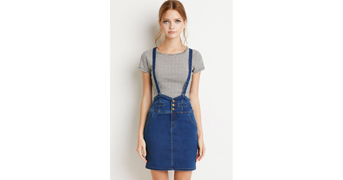 737fb6551ba Forever 21 Denim Overall Skirt in Blue - Lyst