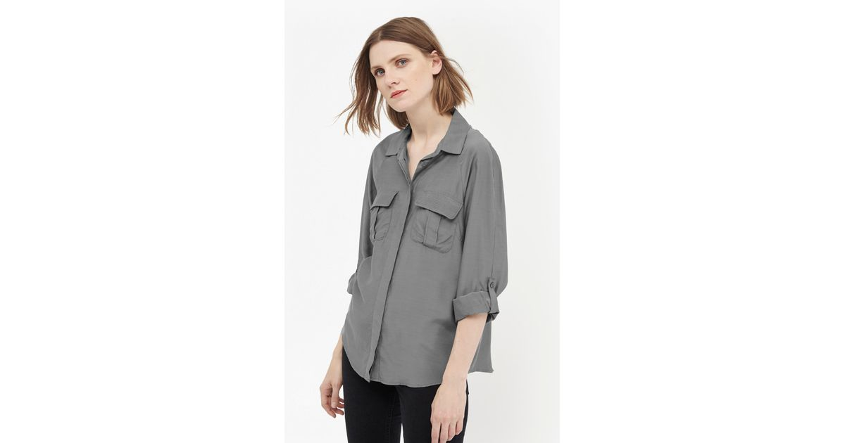 f7003260 French Connection Cupro Spring Utilitarian Shirt in Green - Lyst