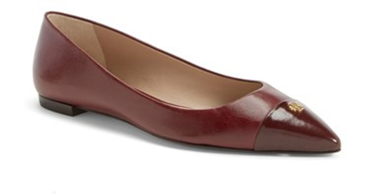 2c6023fdf07 Lyst - Tory Burch  Fairford  Leather Pointy Toe Flat in Brown