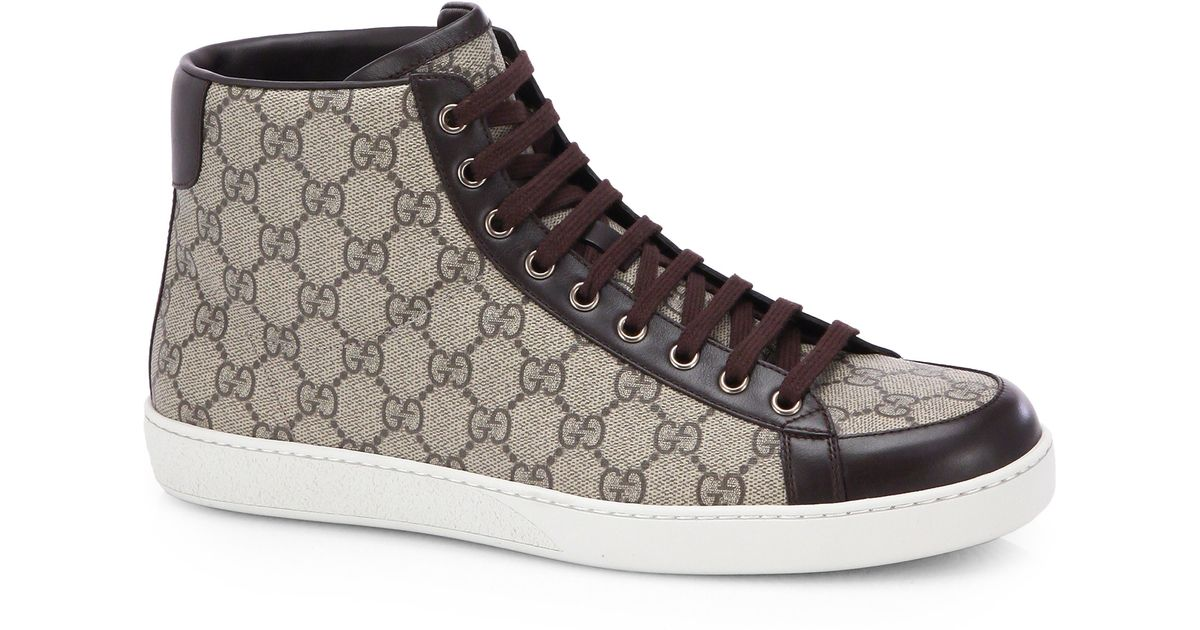 b81359a8933d3 Lyst - Gucci Gg Supreme Canvas High-top Sneakers in Natural for Men