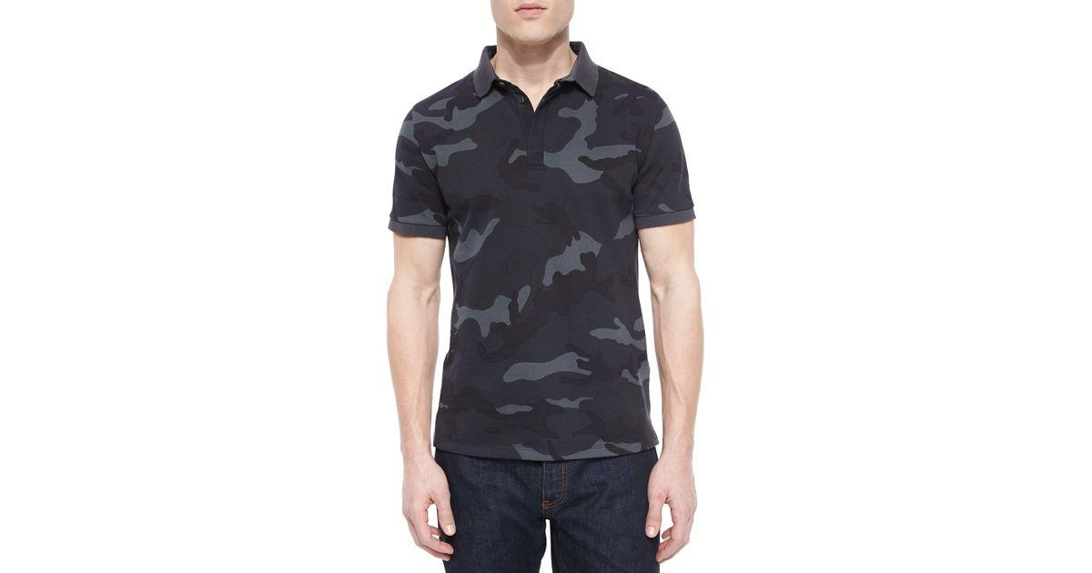 Valentino Camo-Print Pique Polo Shirt In Navy (Blue) For