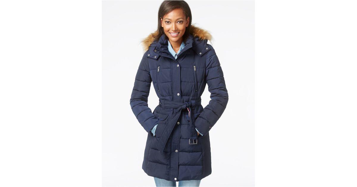 125390649 Tommy Hilfiger Blue Faux-fur-trim Belted Puffer Coat