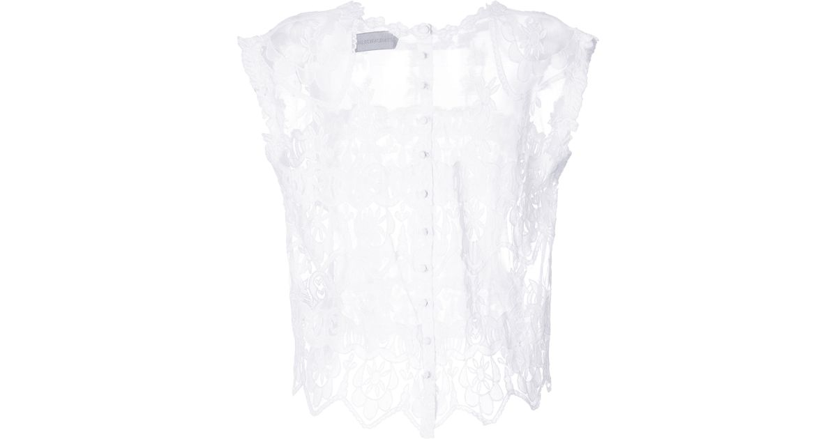 002758ffc94629 Lyst - Zadig   Voltaire Sheer Embroidered Boxy Crop Top in White