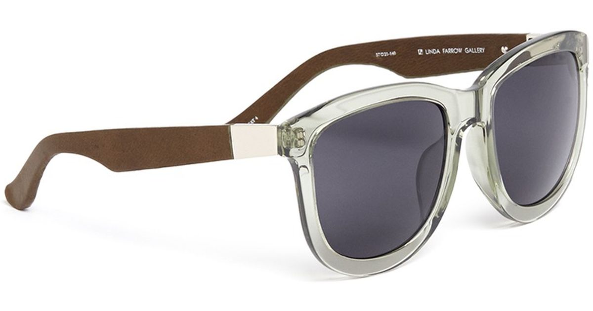 a226b45be1 Lyst - The Row X Linda Farrow Leather Temple D-frame Sunglasses in Green