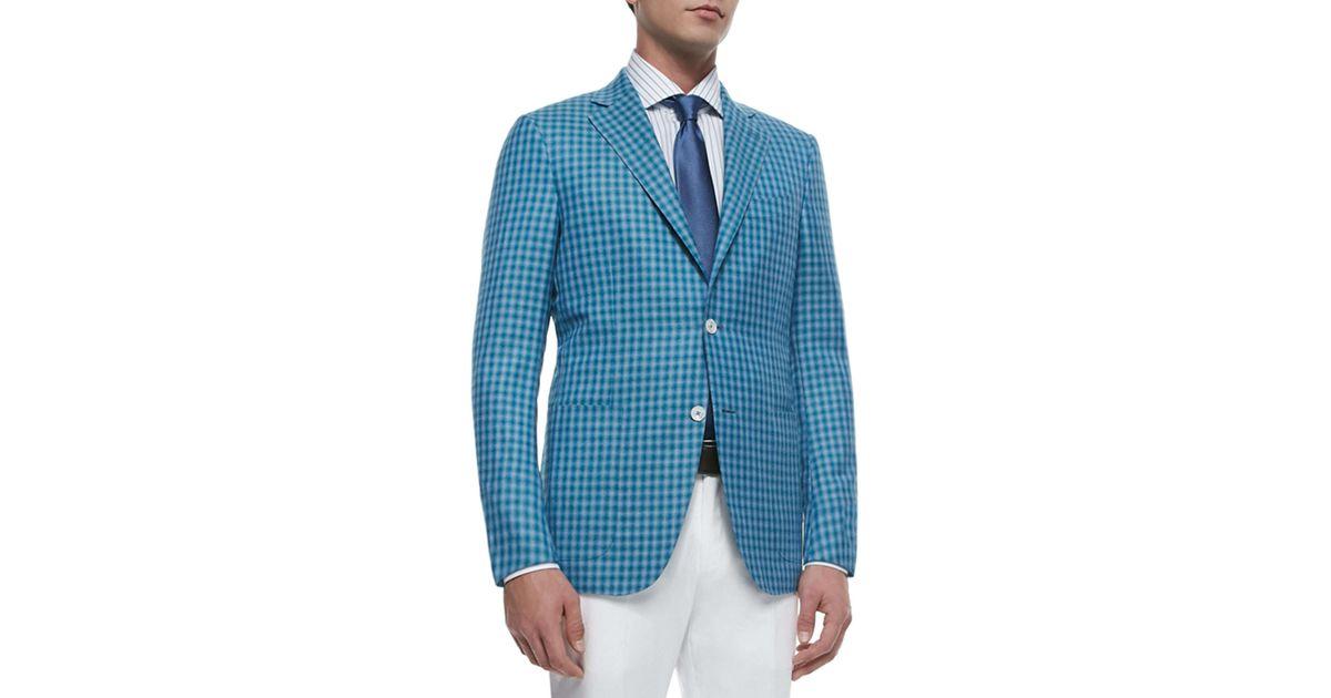 6e6c7989 Ermenegildo Zegna - Blue Check Wool-silk Two-button Jacket for Men - Lyst
