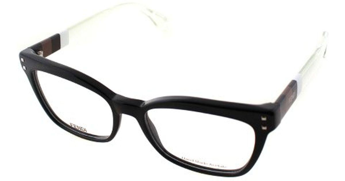 77c4a98ca95 Fendi Ff 0084 E6i Black And Penguin White Cat-eye Plastic Eyeglasses in  Black - Lyst