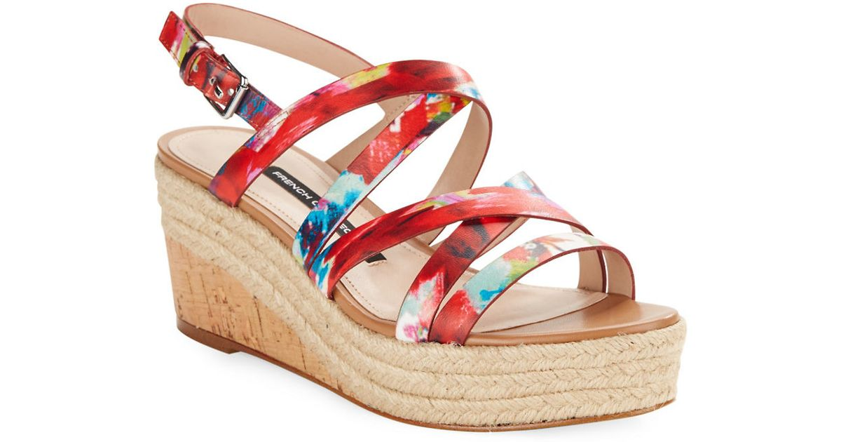 connection liya leather wedge sandals in multicolor