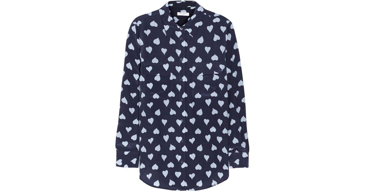 67d7a08132cbf Lyst - Equipment Slim Signature Heartprint Washedsilk Shirt in Blue