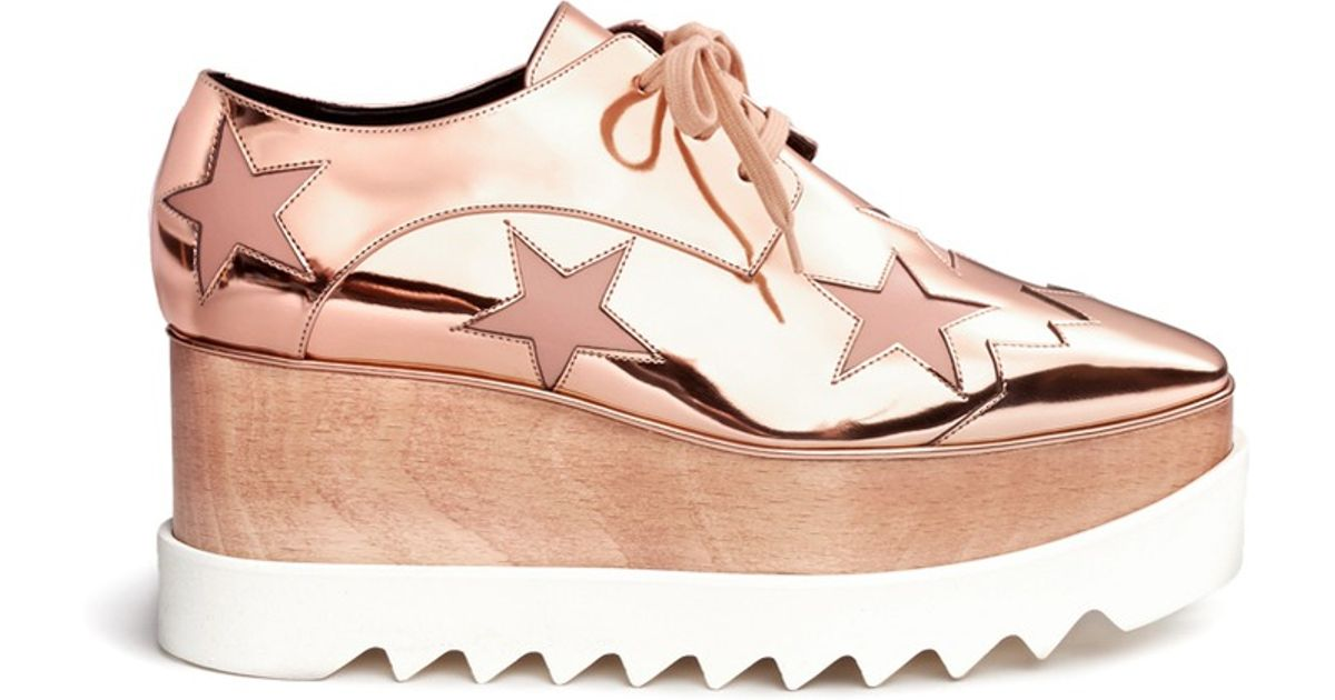 Stella McCartney Elyse Metallic Star Sneaker Wedges gXR8pm1N