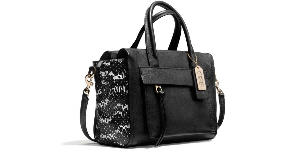 732b9e5ecf ... shopping coach bleecker mini riley carryall in two tone python embossed  leather in black lyst ed395