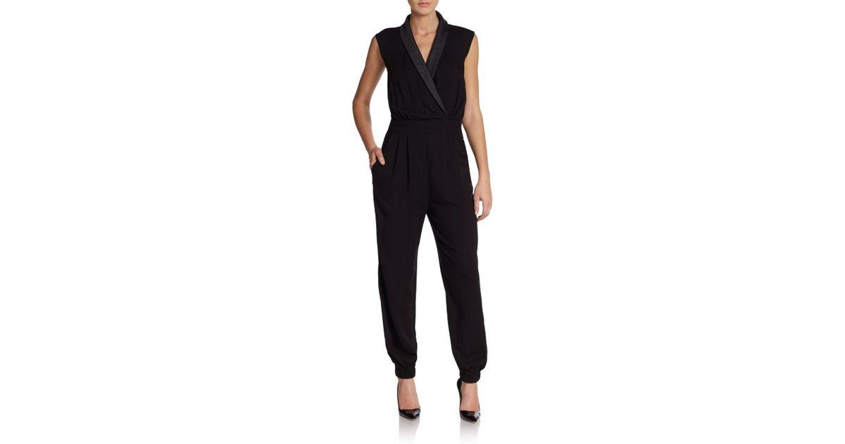ea501bc120d0 ABS By Allen Schwartz - Black Shawl Collar Jumpsuit - Lyst