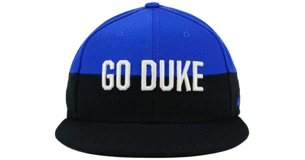 eaf753277bfbe ... promo code for lyst nike duke blue devils pro verbiage snapback cap in  black for men