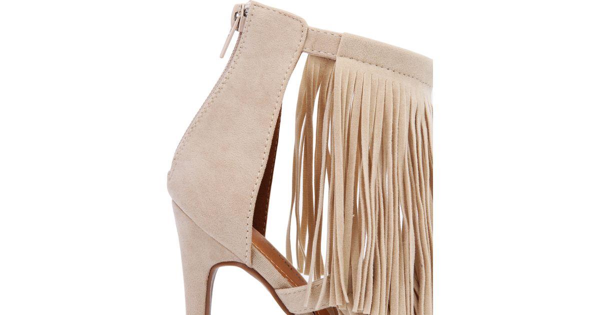 c2046fa5056 AKIRA - Natural Nude Fringe Heeled Sandals - Lyst