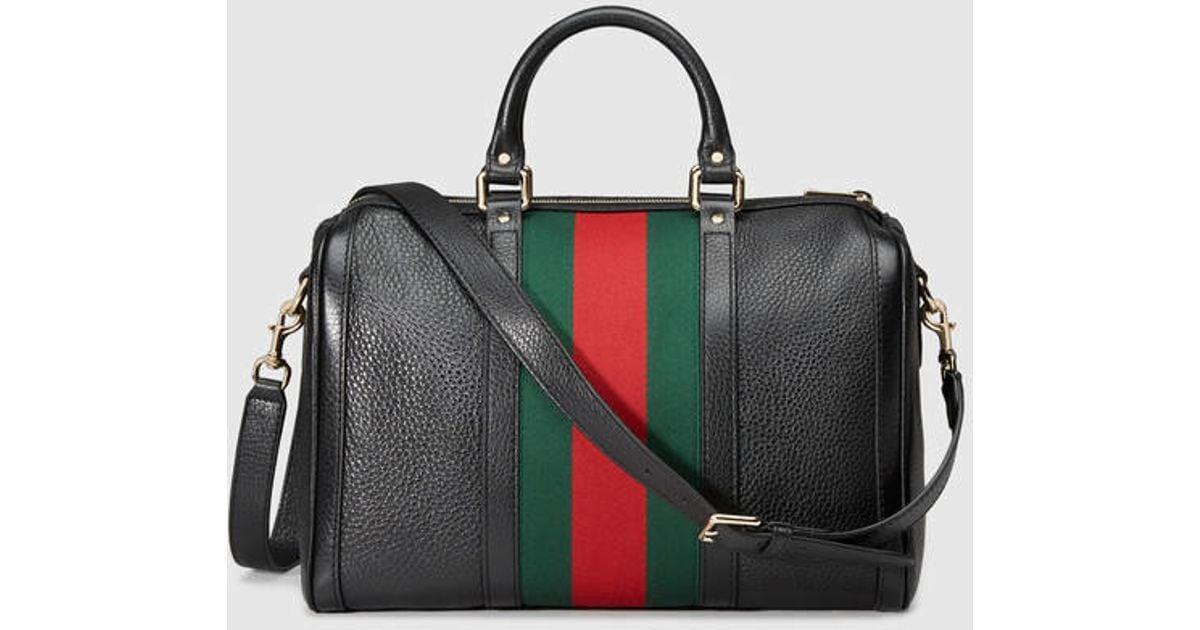 e06ba6c766bd08 Gucci Vintage Web Leather Boston Bag in Black - Lyst