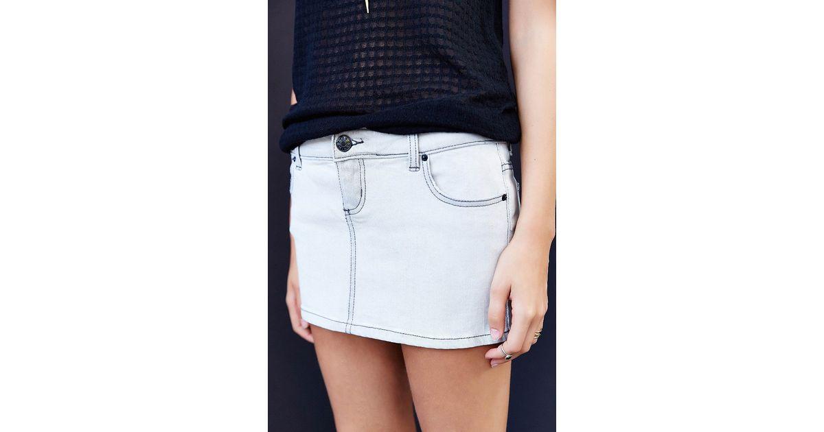 Pins and needles Darlene Micromini Denim Skirt in White   Lyst