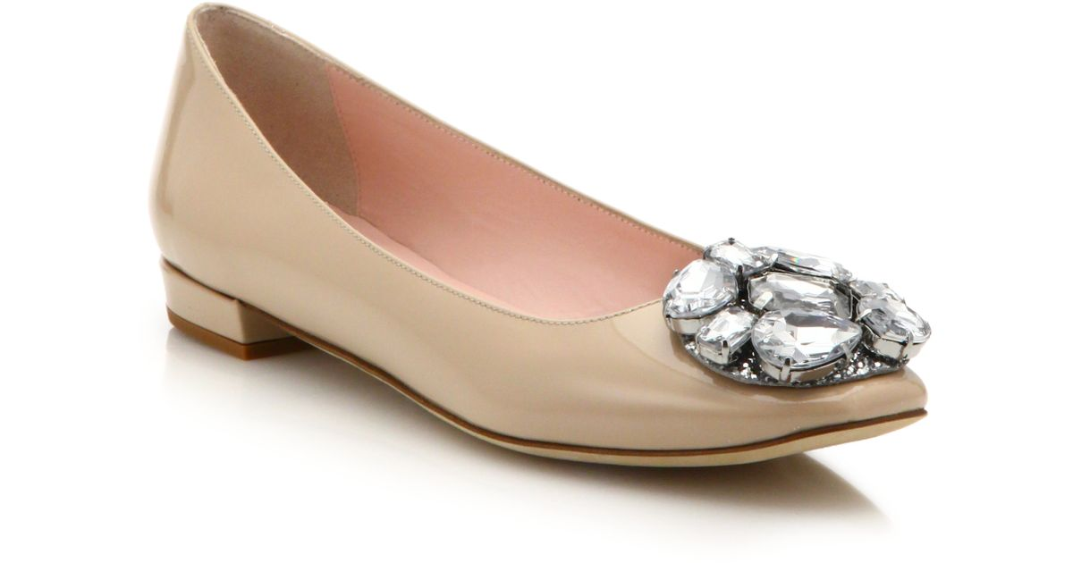 5307a641be19 Lyst - Kate Spade Nena Patent Leather Jewel Cluster Ballet Flats in Natural