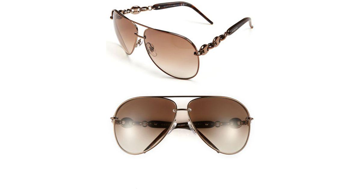 00fdf59da94 Lyst - Gucci  marina Chain  63mm Aviator Sunglasses - Chocolate in Brown