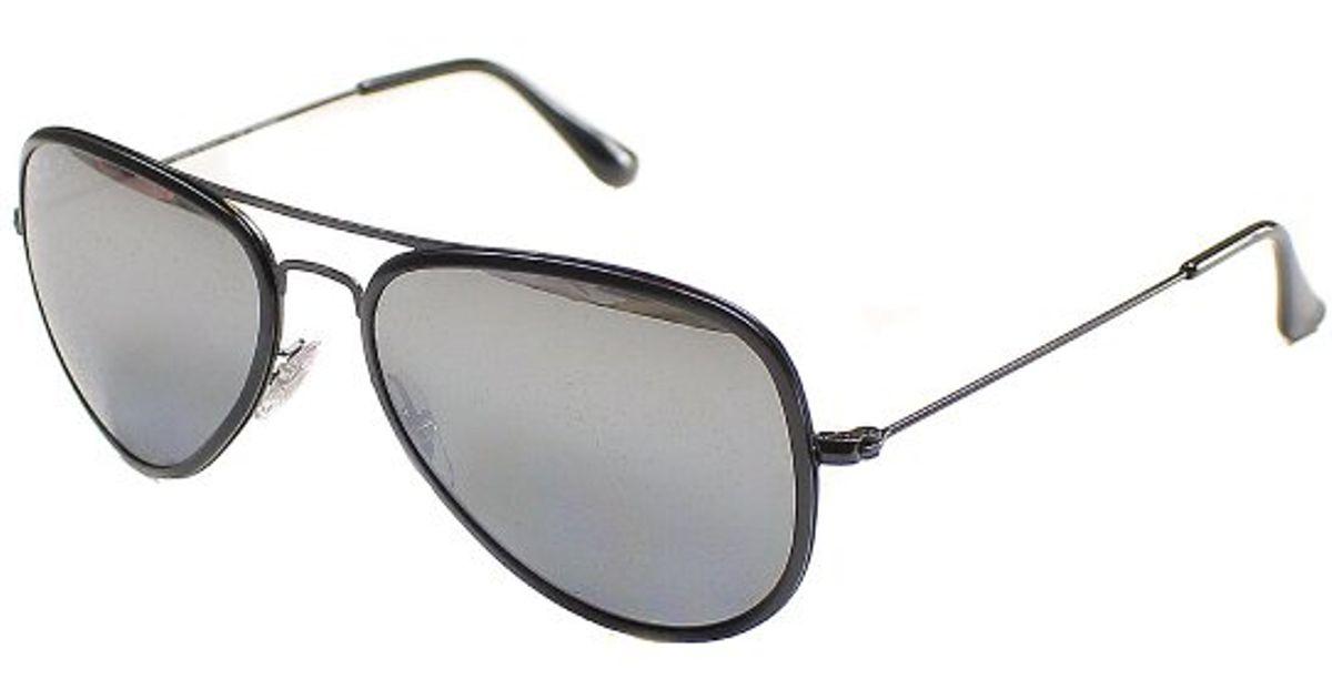 15e030655 uk lyst ray ban ray ban rb3513m aviator flat metal 153 82 sand black sunglasses  polarized