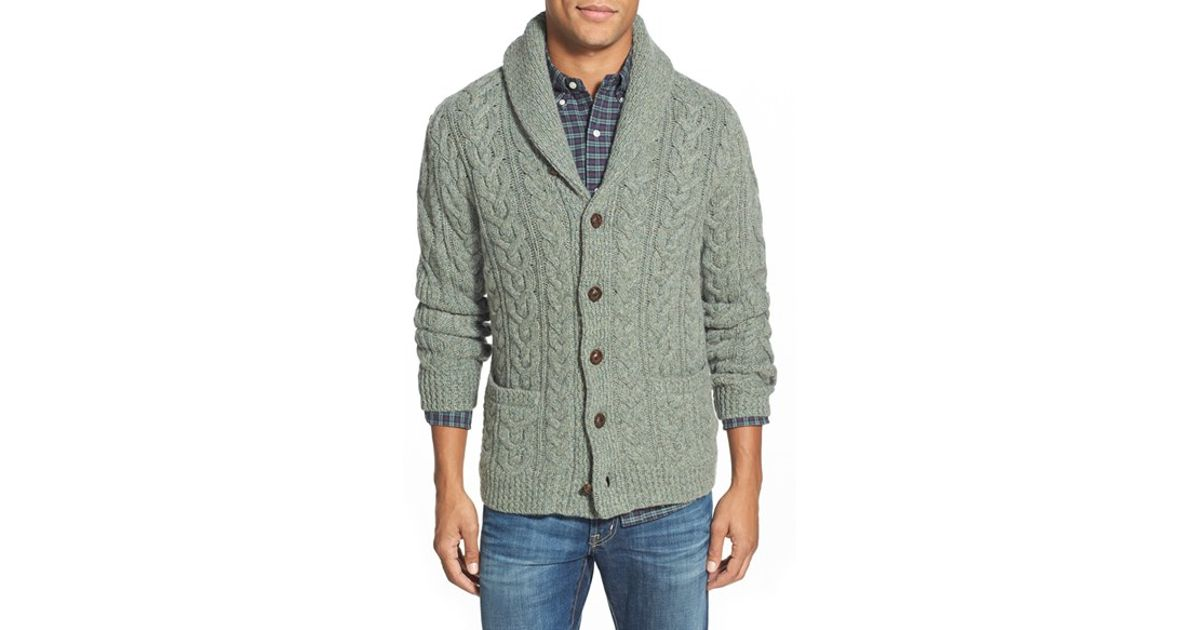 Lyst - Polo Ralph Lauren Wool   Cashmere Cable Knit Shawl Collar Cardigan  in Green for Men b2f246e52