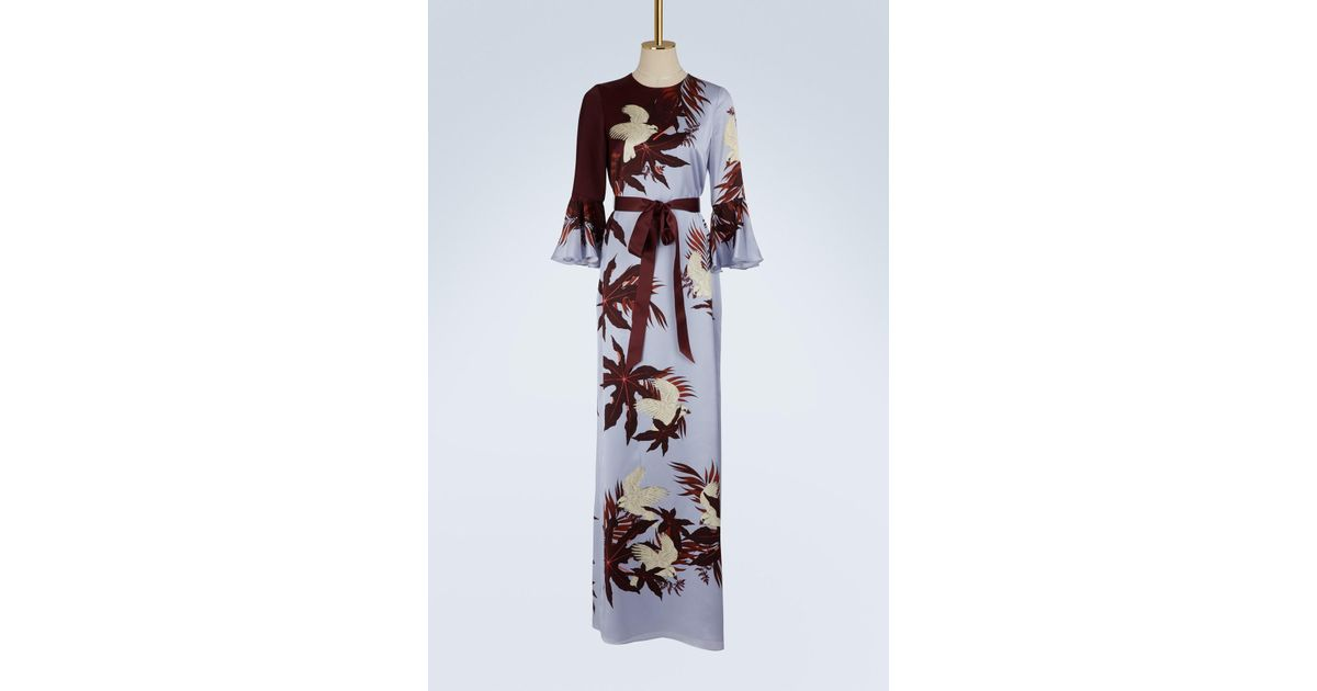 Linzea long sleeves satin dress Erdem S0yoMmD16