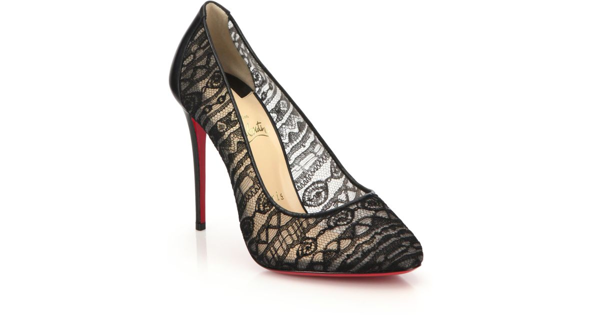 c69bcb508328 Lyst - Christian Louboutin Dorissima Lace and Leather Pumps in Black