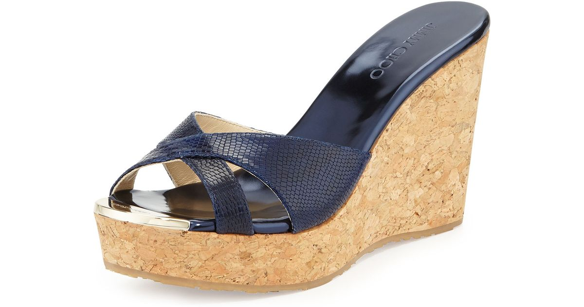 0e8ca782b82 Lyst - Jimmy Choo Pandora Snakeprint Wedge Slide Sandal in Blue