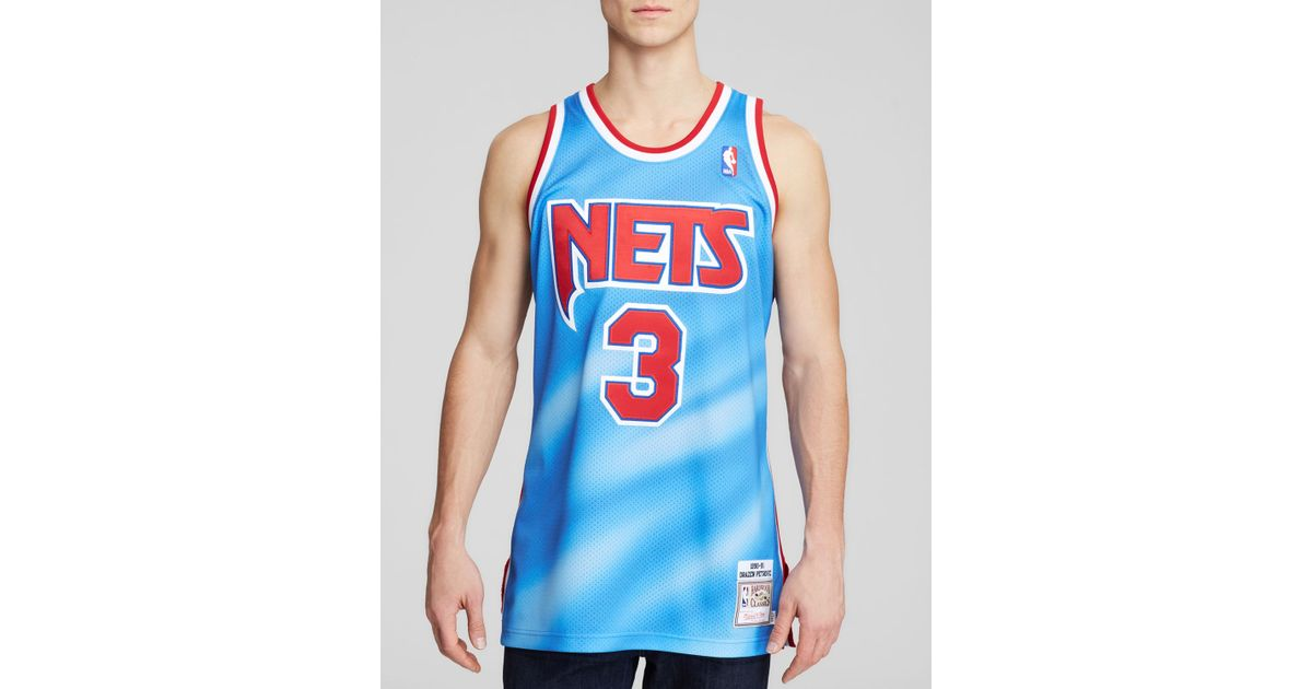 release date c9ad9 b82fd Mitchell & Ness Blue 1993 New Jersey Nets Drazen Petrovic Jersey for men