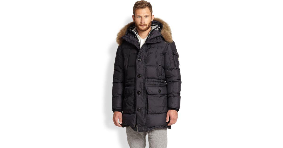 0f772d5d8 Moncler Blue Affton Fur-Trimmed Puffer Coat for men