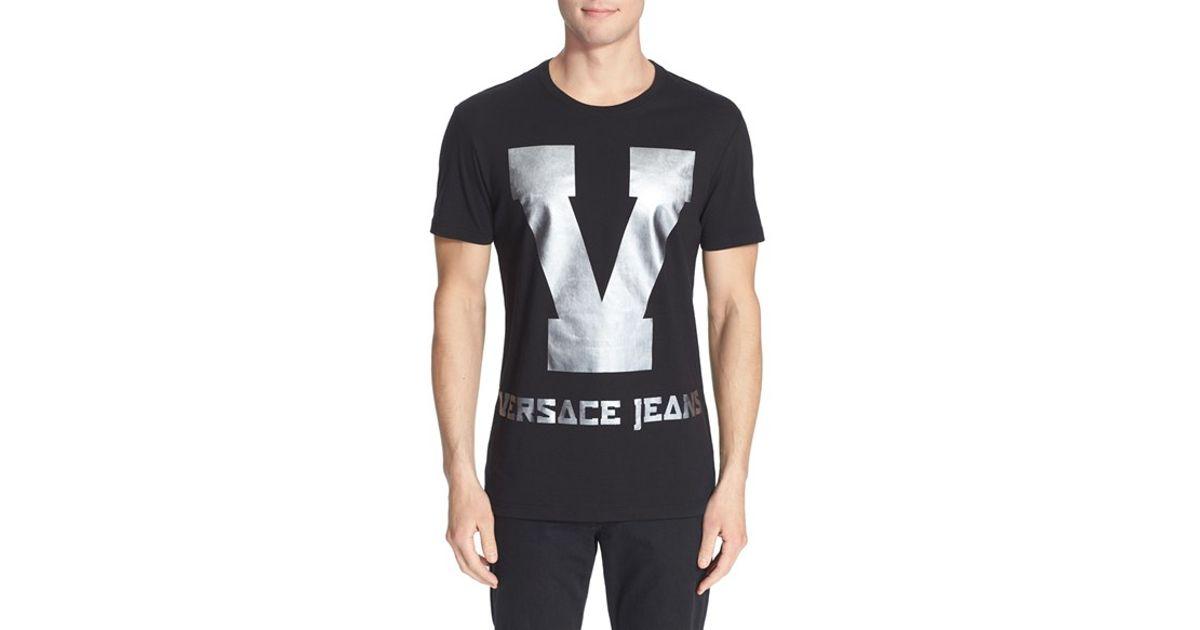 c8e54a4e2 Versace Jeans Foil Print Graphic T-shirt in Black for Men - Lyst
